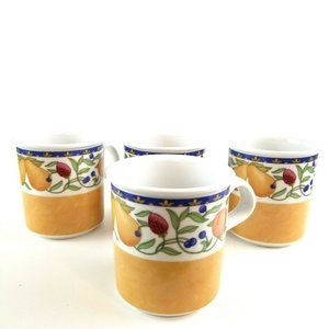 Set of 4 Dansk Fiance Fruits Ceramic Coffee Mugs